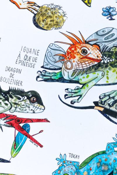 Affiche botanique les Lézards A3