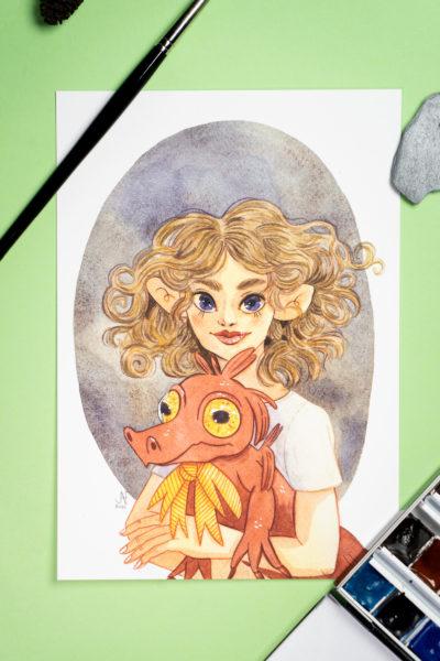 Madonne au Crocodile Rouge Print A5
