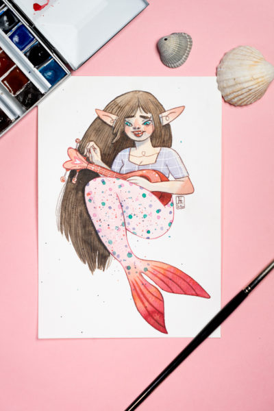 Sirène Musicienne  Aquarelle