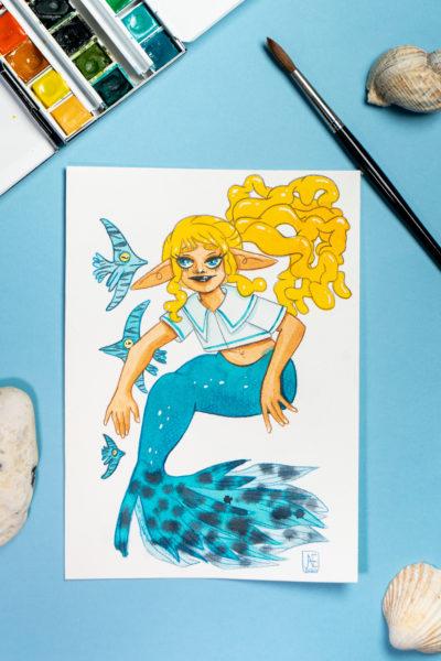 Sirène Bleu tropical Aquarelle