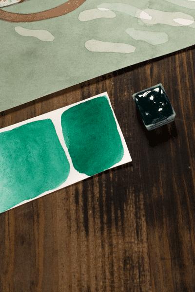 Vert émeraude 1/2 godet Aquarelle fait maison