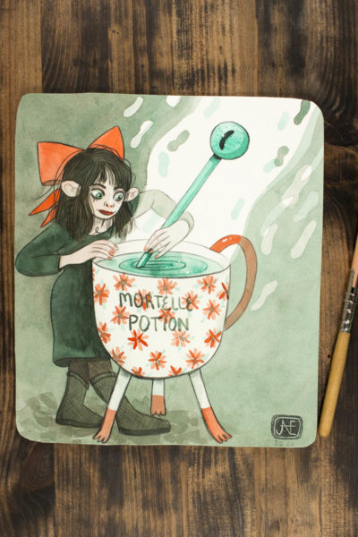 Aquarelle originale « Mortelle Potion »
