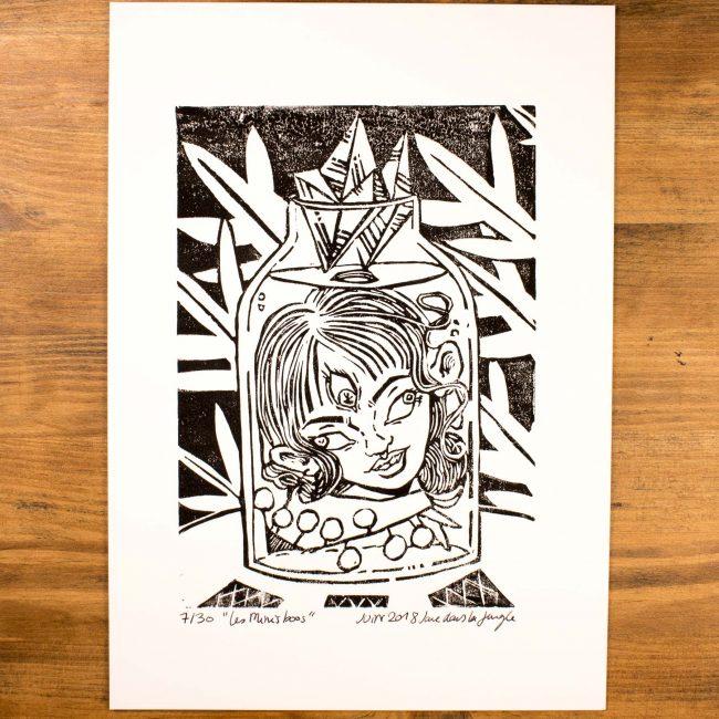 Linogravure «La voyante décapitée» A4