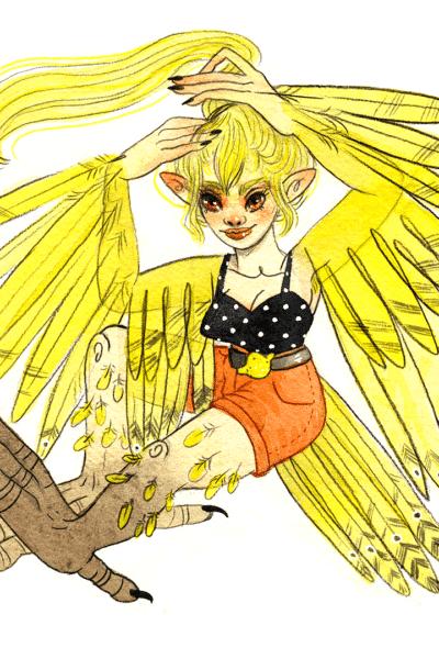 Illustration originale Sirène Jaune Citron