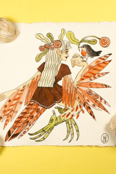Illustration originale Sirène Vermillion