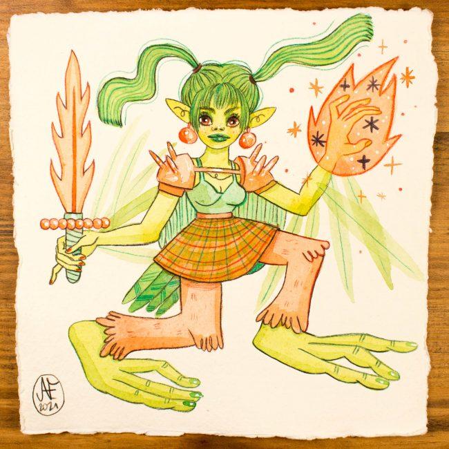 Aquarelle originale Sirène Vert Serpentine