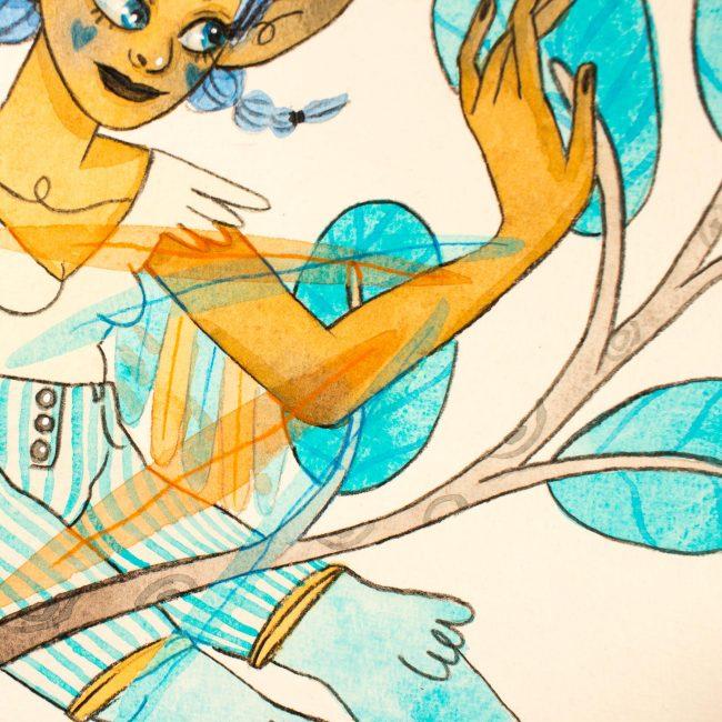 Aquarelle originale Sirène Bleu turquoise