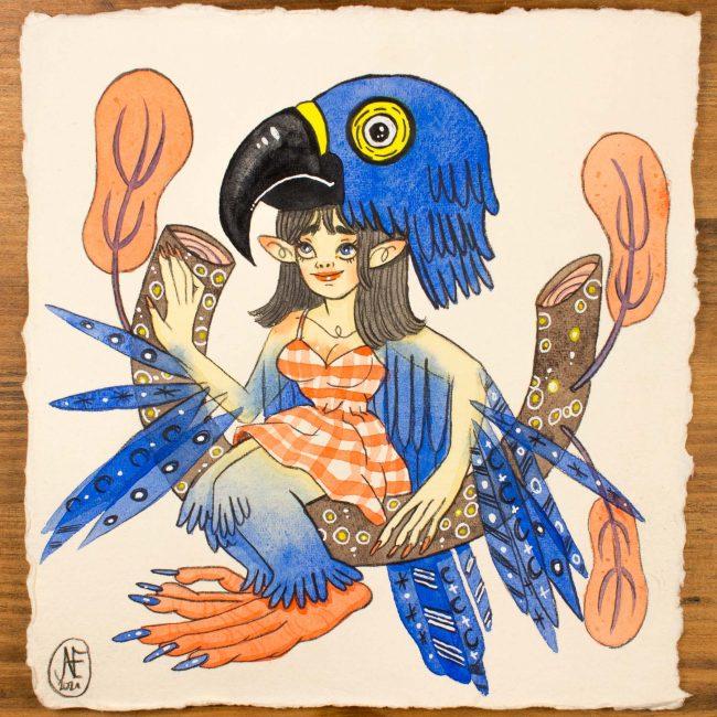 Aquarelle originale Sirène Bleu Outremer