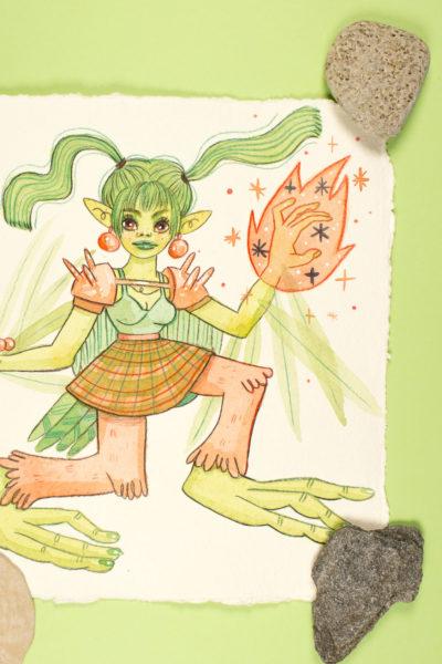 Illustration originale Sirène Vert Serpentine