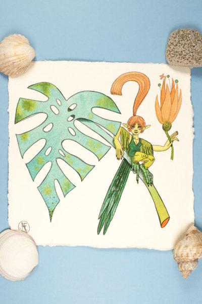 Illustration originale Mermay Rêve tropical