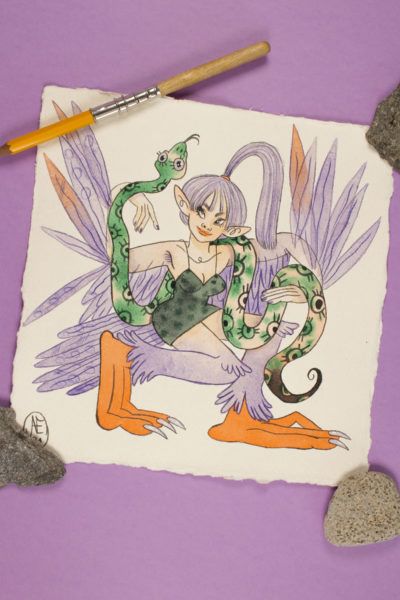 Illustration originale Sirène Violet Outremer