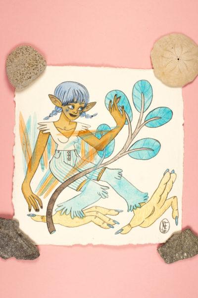 Illustration originale Sirène Bleu turquoise
