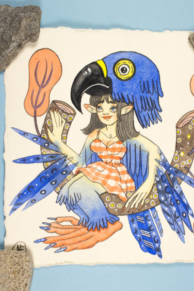 Illustration originale Sirène Bleu Outremer