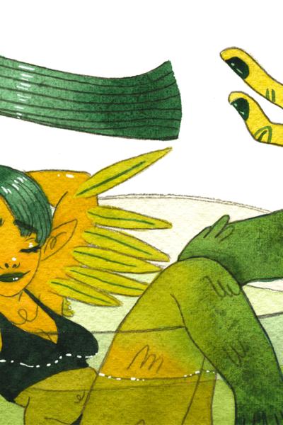 Illustration originale Mermay Vert Forêt