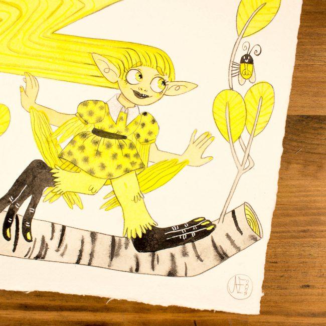 Illustration originale Mermay Jaune électrique