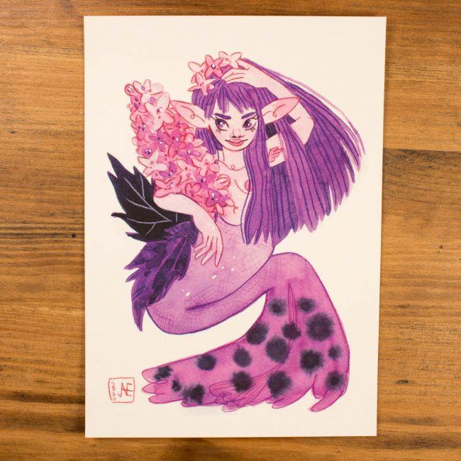 Print A5 Sirène Lilas
