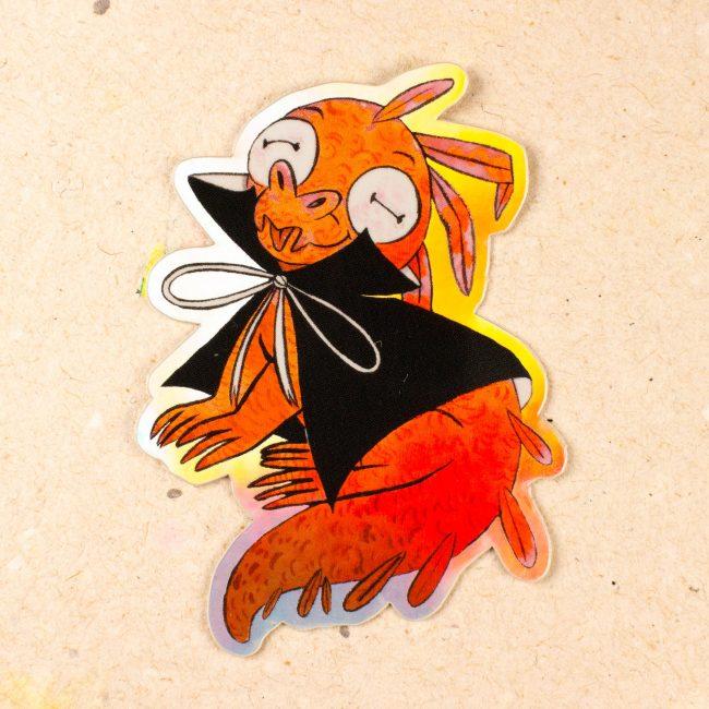 Sticker Holographique Crocodile Rouge