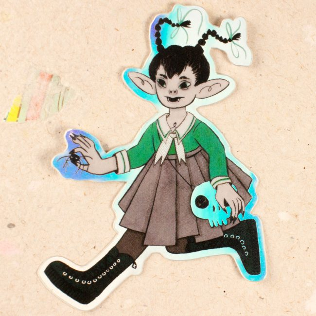 Sticker Holographique Gothic girl