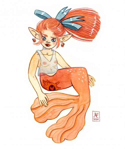 Mermay Pêche. Aquarelle.
