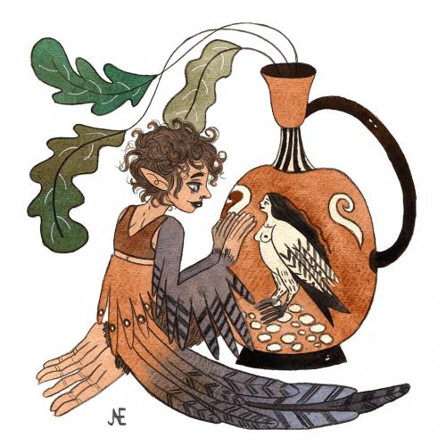 Mermay sirène grecque. Aquarelle sur papier texturé.