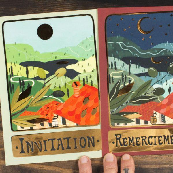 Set invitation mariage. Illustration traditionnelle et finition dorée numérique.