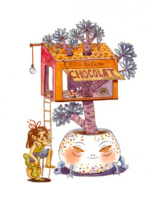 La cabane chocolat. Aquarelle.
