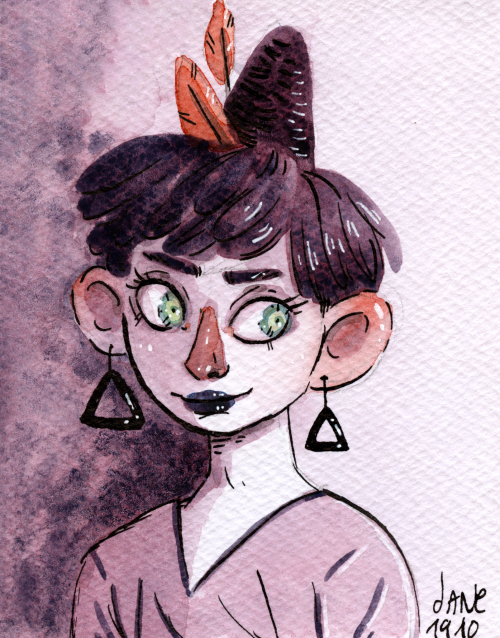 Mini-sorcière. Aquarelle.